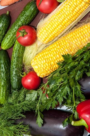 Fresh vegetables and greens for cooking vegetable dishes