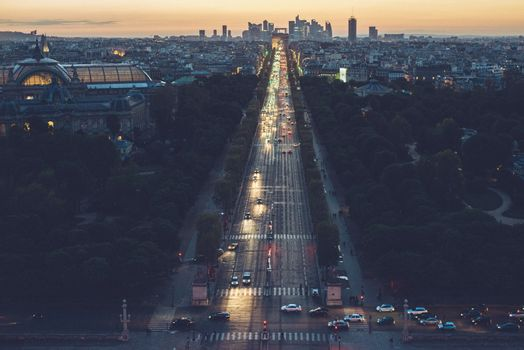 Champs Elysees (Paris, france) top view