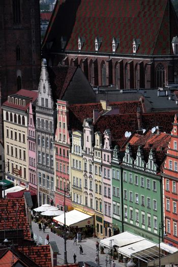 the Stray Rynek square in the old town of Wroclaw in Poland in east Europe.