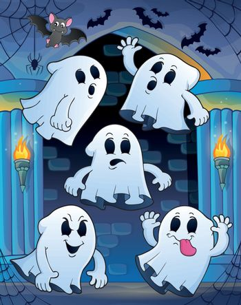 Ghosts in haunted castle theme 1