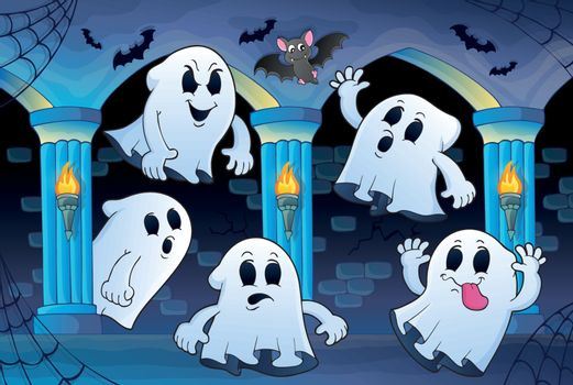 Ghosts in haunted castle theme 2