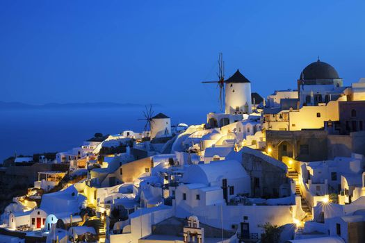 Oia village by night, Santorini, Greece.