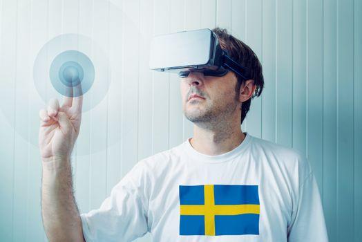 Swedish man exploring virtual reality environment