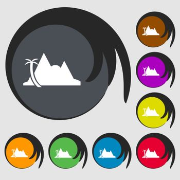 Mirage icon sign. Symbols on eight colored buttons. Vector