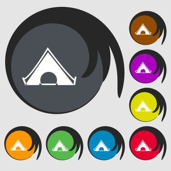 The tent icon sign. Symbols on eight colored buttons. Vector
