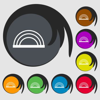 rainbow icon sign. Symbols on eight colored buttons. Vector