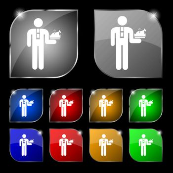 Waiter icon sign. Set of ten colorful buttons with glare. Vector