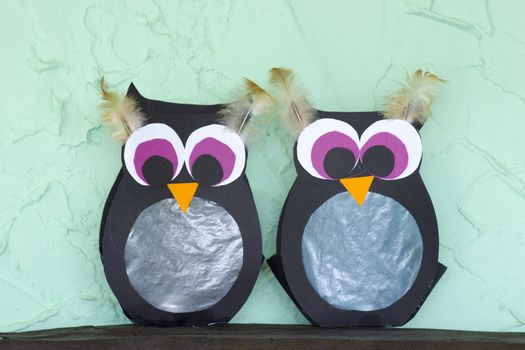 two owl - hand made lanterns