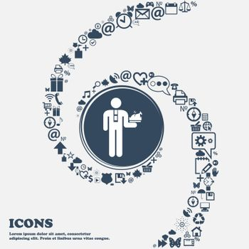 Waiter icon in the center. Around the many beautiful symbols twisted in a spiral. You can use each separately for your design. Vector