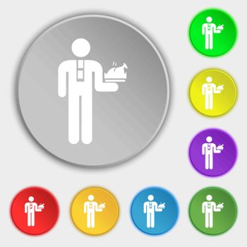 Waiter icon sign. Symbol on eight flat buttons. Vector