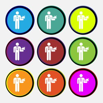 Waiter icon sign. Nine multi colored round buttons. Vector