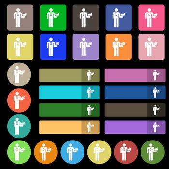 Waiter icon sign. Set from twenty seven multicolored flat buttons. Vector