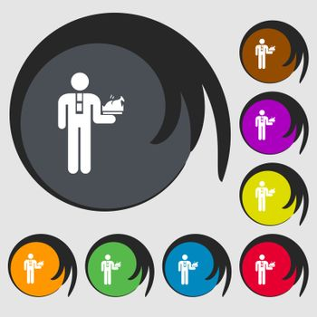 Waiter icon sign. Symbols on eight colored buttons. Vector