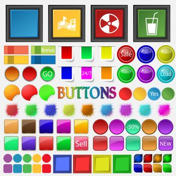 Graphics, ringtones , music , contamination , glass of milk , dr icon. Big set buttons for your site. Vector