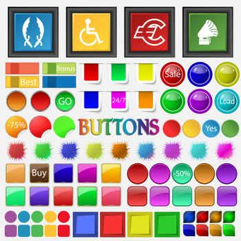 sabers, disabled , EURO including , gramophone icon. Big set buttons for your site. Vector