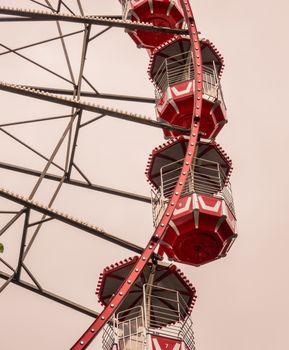 Detail Of Red Retro Vintage Ferris Wheel