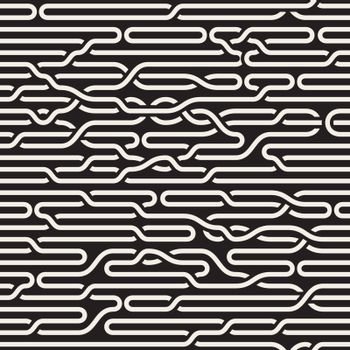 Vector Seamless Black and White Irregular Horizontal Braid Lines Pattern