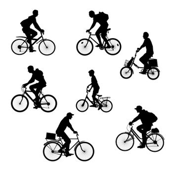 Set cyclists, bikers silhouettes on a white background. Men on bicycles.