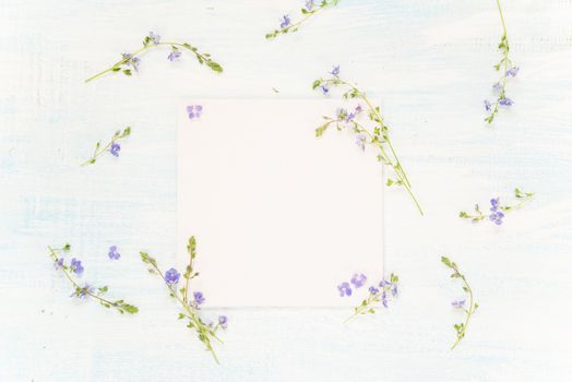 Scrapbooking page with blue flowers