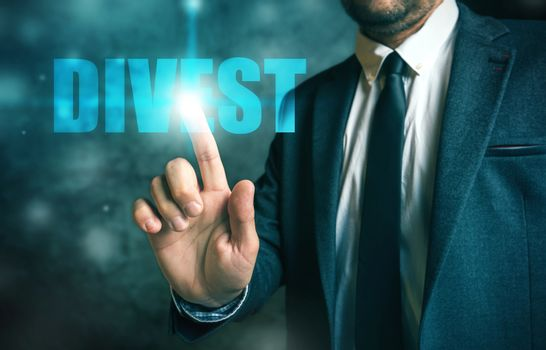 Divestment concept with businessman in suit
