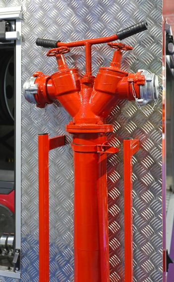 Water Hydrant Pipe With Valves at Fire Truck