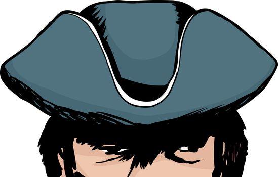 Shadowed eyes of man in tricorn hat