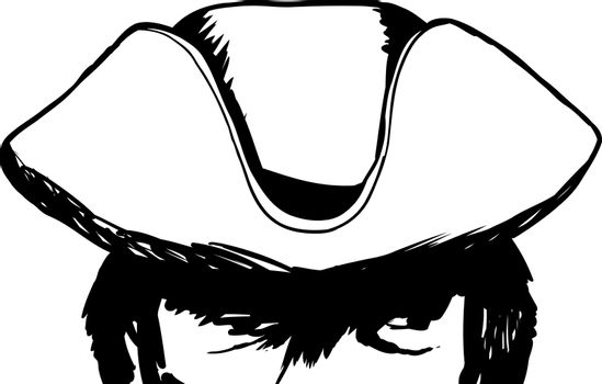 Outlined shadowed eyes of man in tricorn hat