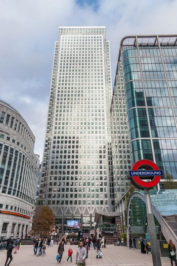 People enter Canary Wharf tube station in London's Docklands