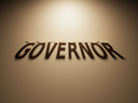 3D Rendering of a Shadow Text that reads Governor