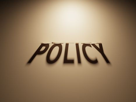 3D Rendering of a Shadow Text that reads Policy