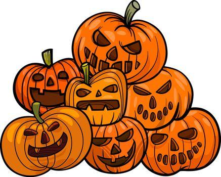 Cartoon Illustration of Halloween Pumpkins or Jack Lantern Group
