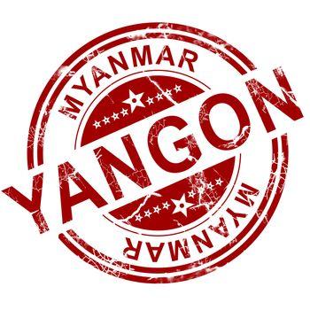 Red Yangon stamp