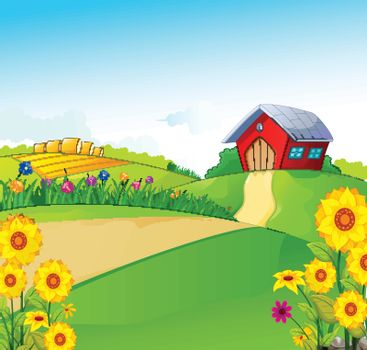 vector illustration of beauty farm with landscape background