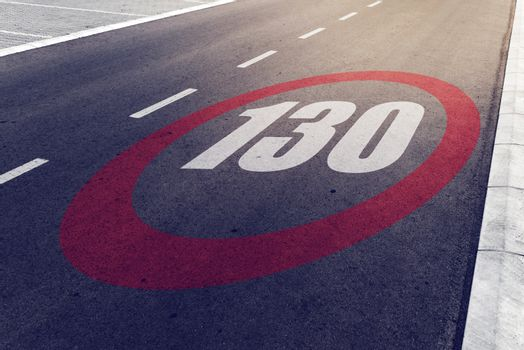 130 kmph or mph driving speed limit sign on highway
