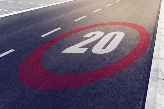 20 kmph or mph driving speed limit sign on highway
