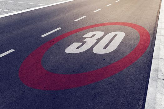 30 kmph or mph driving speed limit sign on highway