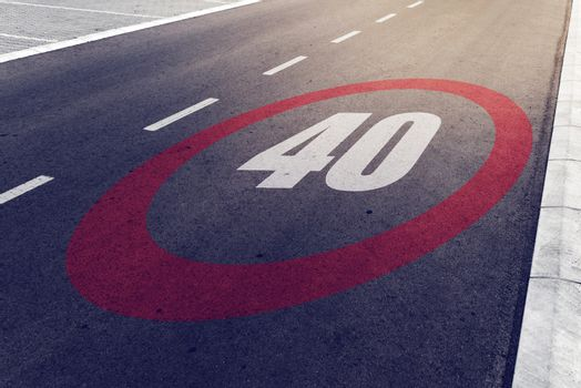 40 kmph or mph driving speed limit sign on highway