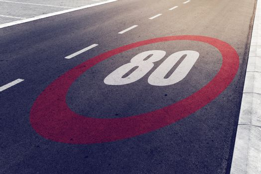 80 kmph or mph driving speed limit sign on highway