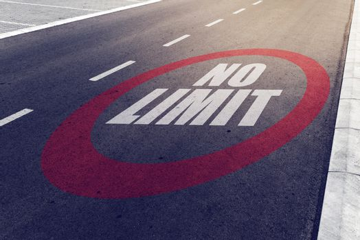 No limit sign on highway