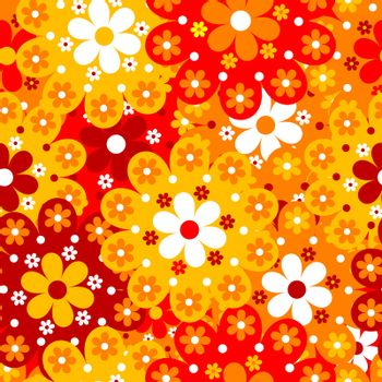 Floral seamless background with orange flowers