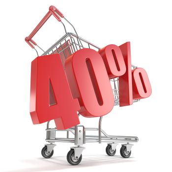 40% - forty percent discount in front of shopping cart. Sale con