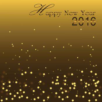 Happy New Year 2016, Golden bokeh blinking background