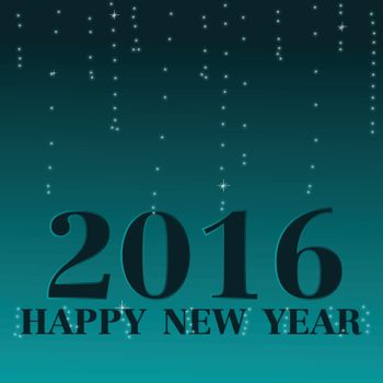 Happy New Year 2016, Blue bokeh blinking background