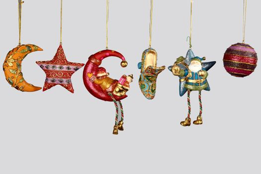 Christmas decorations to hang on the Christmas tree on a white background