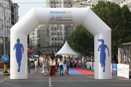 BELGRADE,SERBIA - SEPTEMBER 11 , 2016:Activities on the street as promotion of European athletics indoors championship which will be held from 3-5.March ,2017 in Belgrade,Serbia