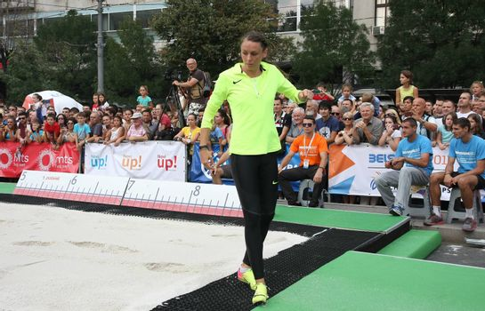 BELGRADE,SERBIA - SEPTEMBER 11 , 2016: Erica Jarder testing long jump runway for competition as promotion of European athletics indoors championship which will be held from 3-5.March ,2017 in Belgrade,Serbia