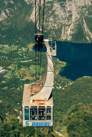 BOHINJ LAKE, SLOVENIA - AUGUST 24, 2016: Vogel cable car is public transportation in Triglav national park, it takes passengers to a height of more than 1,500 metres above sea level.