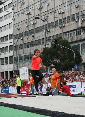 BELGRADE,SERBIA - SEPTEMBER 11 , 2016: Sara Lukic testing long jump runway for competition as promotion of European athletics indoors championship which will be held from 3-5.March ,2017 in Belgrade,Serbia
