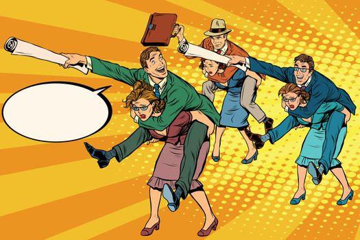 Business people office battle