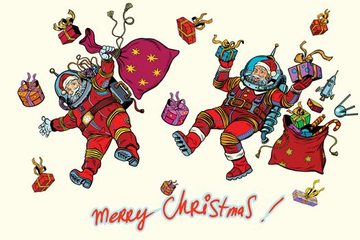 Space Santa Claus in zero gravity with Christmas gifts